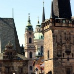 Many towers of New Town in Prague.