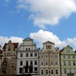 Buildings along one side of the Old Town Square in Prague.