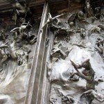 Detail of The Gates of Hell, outside at the Rodin Museum.