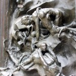Detail of The Gates of Hell outside at the Rodin Museum.