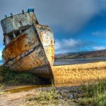 Fishing boat Pt. Reyes beached at the end of Tomales Bay. Photo by Roy Scarbrough