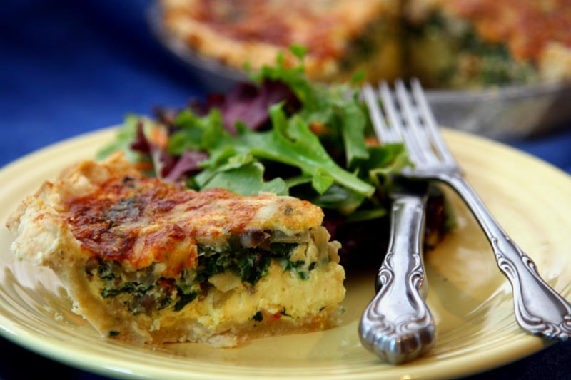 Spinach Mushroom Quiche with a little Mixed Greens.