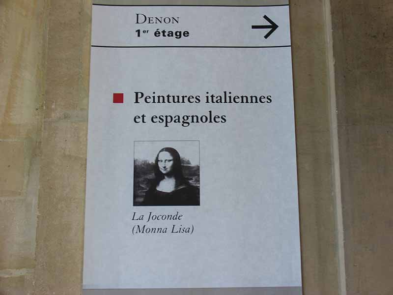 Sign pointing to the famous painting in the Louvre.
