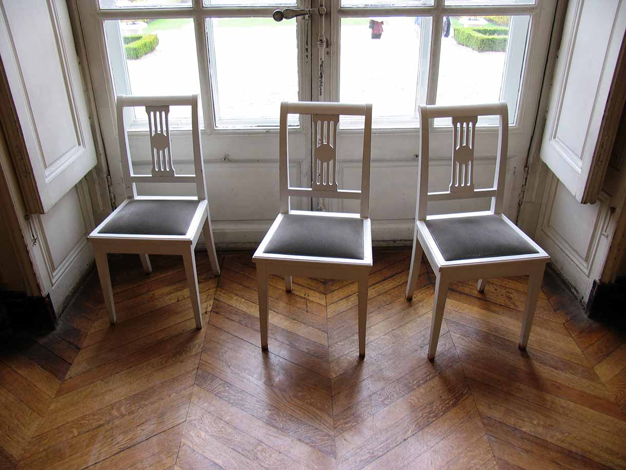 Three chairs at the Rodin Museum