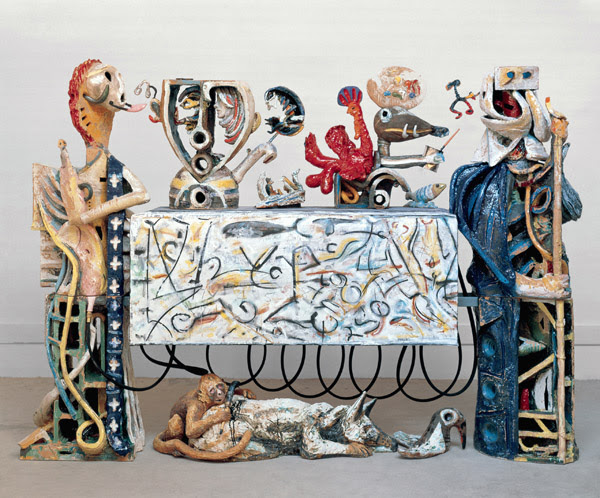 Robert Arneson, Guardians of the Secret II, 1998-1990 glazed ceramic, wood, plexiglass, steel, canvas, epoxy, and mixed media, 86 x 119 x 26 inches
