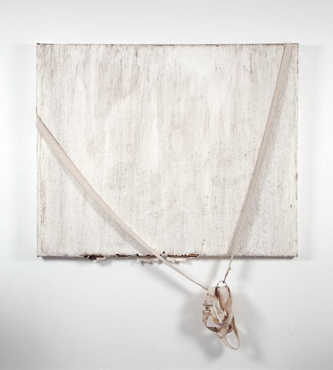 Margie Livingston, Dragged painting with harness, 2016, acrylic paint skin stretched over wood strainers, dirt, harness, 52 x 64 x 1.5 inches