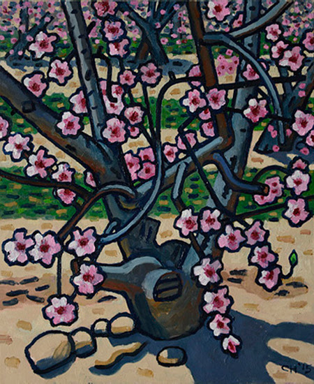 "Curtis Hoekzema, ""Almond Blossoms,"" 2015, oil on canvas, 24 x 22"""