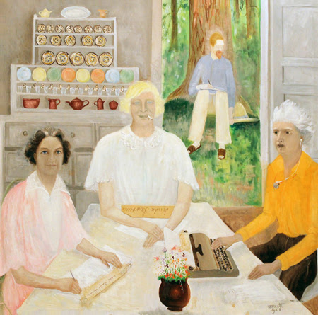 Mabel Dodge Luhan, Frieda Lawrence, Dorothy Brett, and D.H. Lawrence under the famous tree painted by Georgia O'Keeffe.