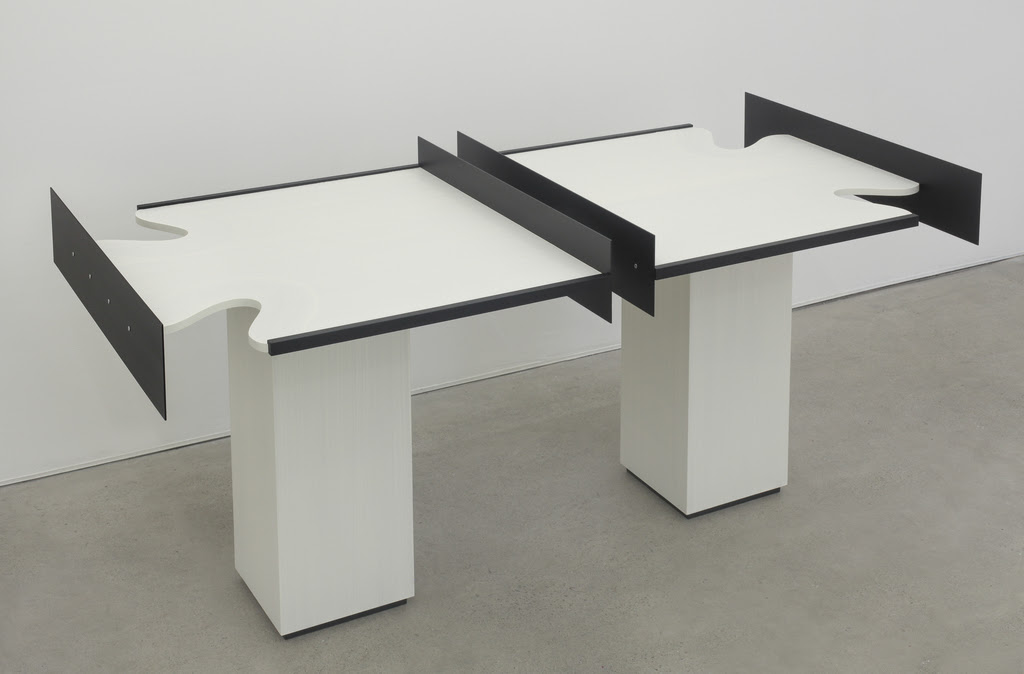 Split Table 2016 Birch Plywood, euro-beech hardwood, aluminum, aluminum rivets, acrylic 34.5 x 76 x 37 inches