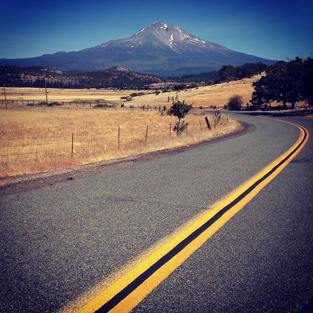 View of Mt. Shasta from the backroads west of Weed.