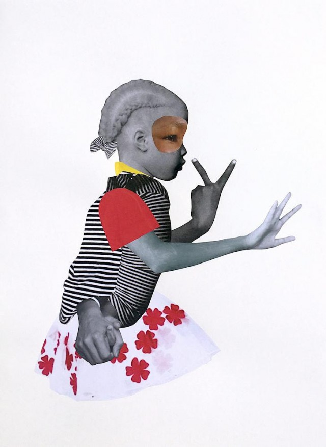 Image: Deborah Roberts, Girl in charge, 2018, mix media on paper, 30 x 22 in / 76.2 x 55.8 cm.