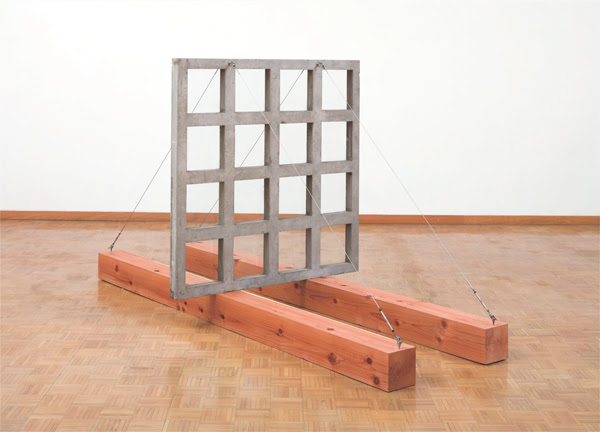 Robert Hudson, Window, 1970  wood, cement, glass, steel cable, 64 x 120 x 56 inches