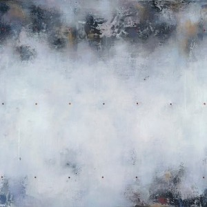Raphaelle Goethals, Alfa Blue, encaustic on panel, 38 x 40""