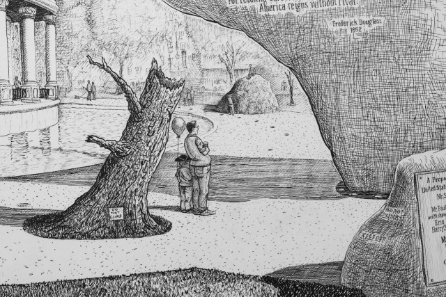 Detail from Sandow Birk, Proposal for a Monument to the Declaration of Independence (and a Pavilion to Frederick Douglass), 2018. Direct gravure etching, co-published by Mullowney Printing and Catharine Clark Gallery.