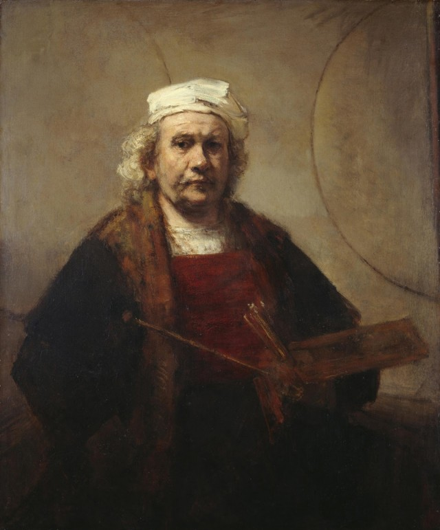 Rembrandt van Rijn, Self-Portrait with Two Circles, c. 1665, oil on canvas, 45 × 37 inches (114.3 × 94 cm), English Heritage, The Iveagh Bequest (Kenwood, London). Photo © Historic England Photo Library