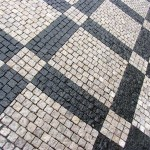 Patterns made in the street cobblestones in Prague.