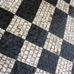 Cobblestone patterns in the streets of Prague.