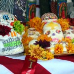 Skulls on an altar at Day of the Dead in Oakland