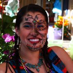 Happy Day of the Dead celebrant in Oakland