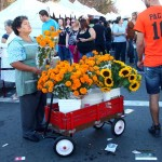 Flower vendor at Day of the Dead festival.