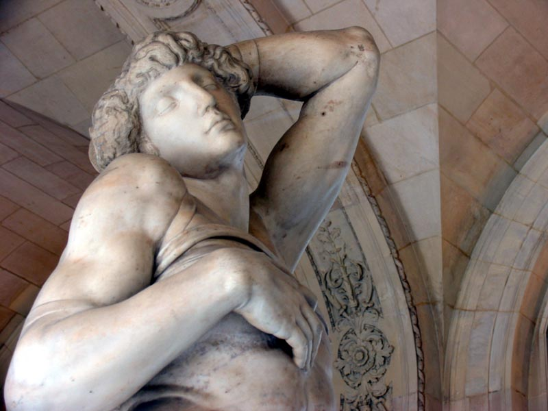 Detail of one of Michelangelo's Slaves in The Louvre, Paris.
