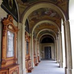 An outside corridor in The Loreto, Prague.