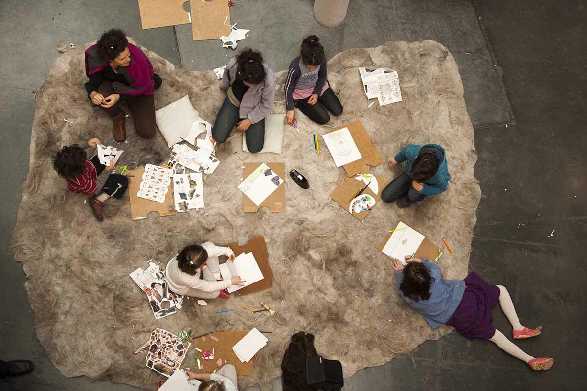 Kids make art during the BAM celebration.