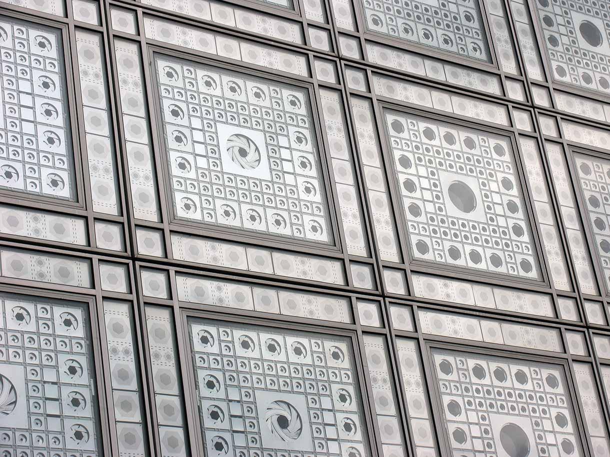 Windows at the Institut du Monde Arabe in Paris