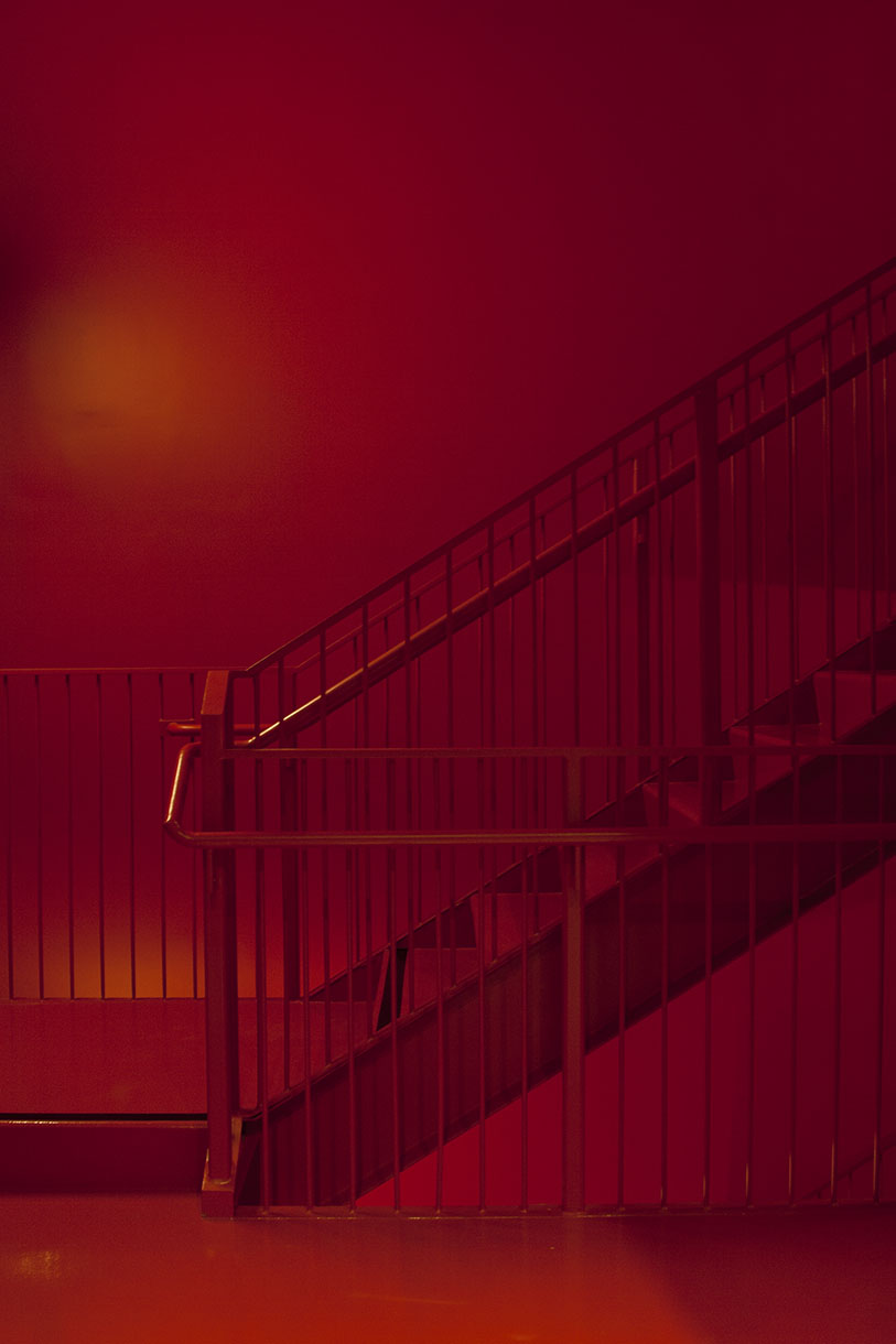 Red Stairway at the new Berkeley Museum of Art and Pacific Film Archive