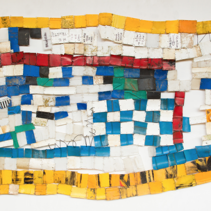 Serge Attukwei Clottey, American Lottery, 2015, plastic, wire and oil paint 51 x 94 in.