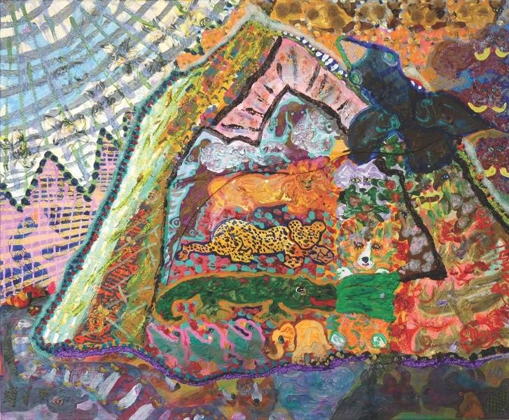 "Maija Peeples-Bright, Wonderful Mt. Whitney, 2016, mixed media, 20"" x 24"""