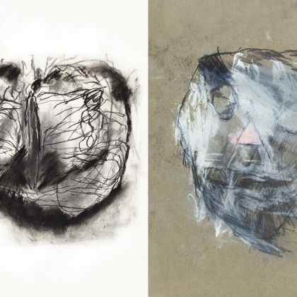 (left) Insects by Charles Cruz © 2012 Creativity Explored Licensing, LLC, charcoal on paper, 15 x 23 inches; (right) Skull Face by Jay Herndon © 2014 Creativity Explored Licensing, LLC, colored pencil on paper, 11 x 8.5 inches