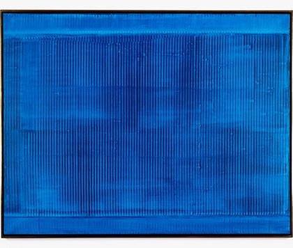 """Vibration im Blau"" 1959 Synthetic resin on canvas.128 x 162 cm / 50 3/8 x 63 3/4 inches Photo: Pierre Antoine © Heinz MACK / ADAGP, Paris, 2016"