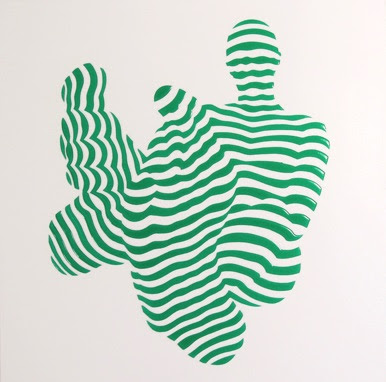 Philippe Jestin, Stripe Pose #5, 2014, resin and paint on wood, 20 x 20 x 1.5 in.