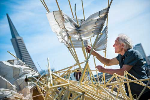 Theo Jansen's Strandbeests at the Exploratorium. (Photo Gayle Laird/Exploratorium)