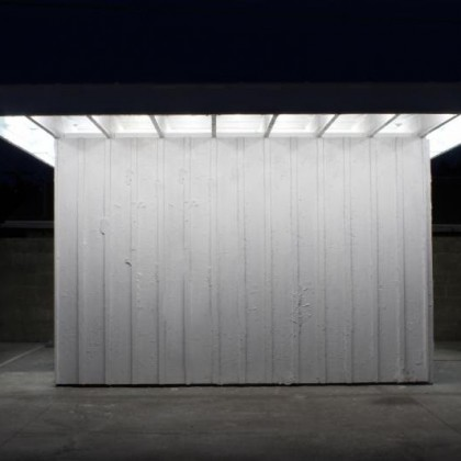 Arturo Bandini (Los Angeles) 2015 I-Joists, Wood, Stucco, Drywall, Fluorescent Lights, Linoleum Courtesy the artists and Ballroom Marfa