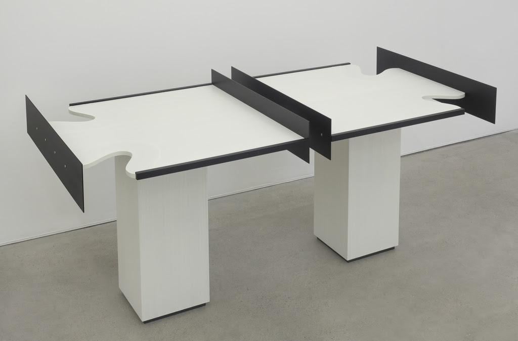 Split Table 2016 Birch Plywood, euro-beech hardwood, aluminum, aluminum rivets, acrylic 34.5 x 76 x 37 inches