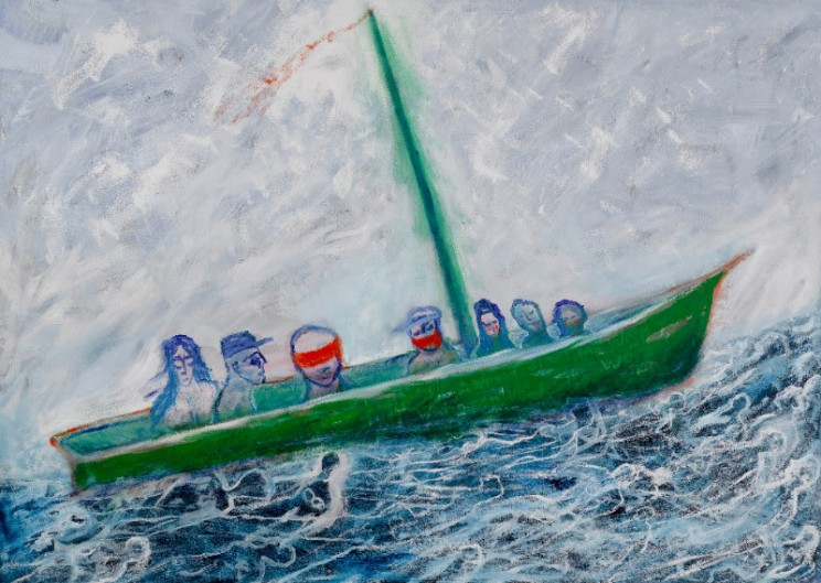Lawrence Ferlinghetti, Boat People, 2006, Oil on canvas, 60 x 84 inches