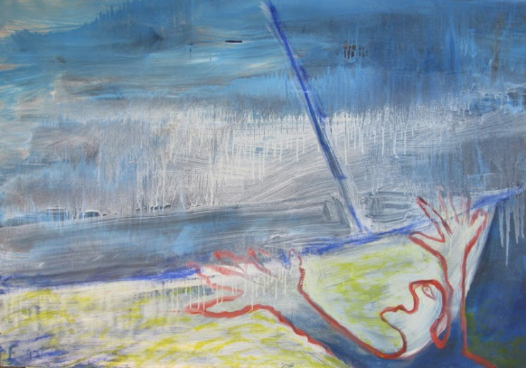 Lawrence Ferlinghetti, Eco-Man, 1992/2005, Oil on canvas, 36 x 52 inches