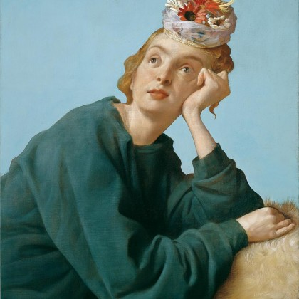 The Penitent, 2004, oil on canvas, 42 × 34 inches (106.7 × 86.4 cm). Private Collection. © John Currin. Photography by Rob McKeever.