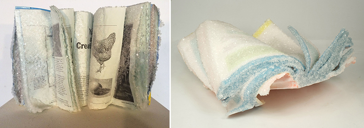 """Alexis Arnold, (L) The Foundations of Graphic Design, book, borax crystals,  L""""xW""""x'H, 2015 and (R) The Art and Science of Java, book, borax crystals, 14""""x14""""10"""", 2015"""