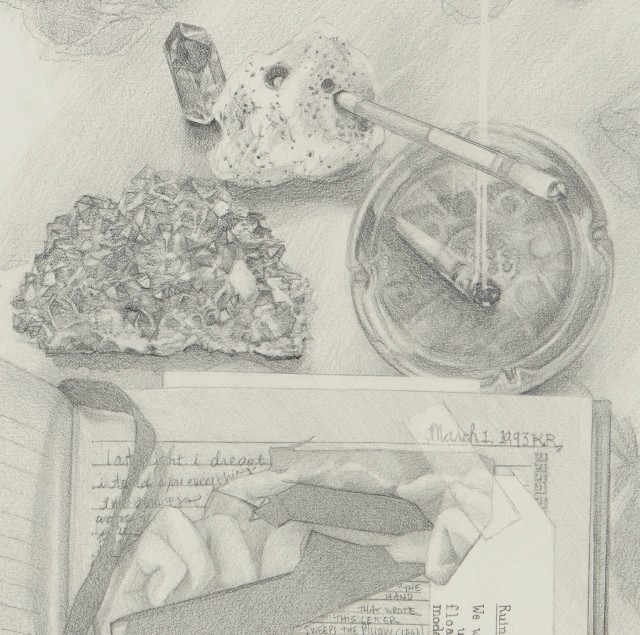 Josephine Taylor, detail from Letter to Hermione, 2018. Graphite on paper, 22 x 14 inches.