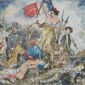 Liberty Leading the People II (inspired by Eugène Delacroix), 2018 Acrylic paint, aerosol on canvas 260 x 325 cm/ 102 3/8 x 127 15/16 in. Unique.