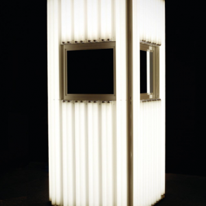 Totem, 2013, fluorescent lights, aluminum, mirror and electric energy, 254 x 112 x 112 cm (100 x 44 x 44 in.), unique