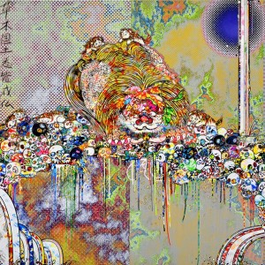 Takashi Murakami, The Lion of the Kingdom that Transcends Death, 2018, acrylic on canvas mounted on aluminum frame, 59 1/8 × 118 1/8 inches (150 × 300 cm) © 2018 Takashi Murakami/Kaikai Kiki Co., Ltd. All rights reserved / 圖片:村上隆,《超越死亡的王國獅子》,2018年,壓克力、畫布、鋁框,59 1/16 x 118 1/8 英寸(150 x 300 厘米) ©2018 村上隆/Kaikai Kiki Co., Ltd. 版權所有。
