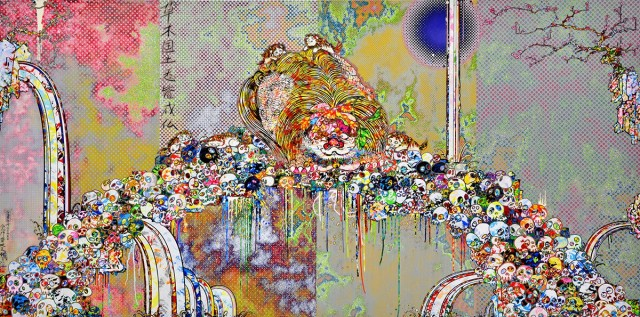 Takashi Murakami, The Lion of the Kingdom that Transcends Death, 2018, acrylic on canvas mounted on aluminum frame, 59 1/8 × 118 1/8 inches (150 × 300 cm) © 2018 Takashi Murakami/Kaikai Kiki Co., Ltd. All rights reserved / 圖片:村上隆,《超越死亡的王國獅子》,2018年,壓克力、畫布、鋁框,59 1/16 x 118 1/8 英寸(150 x 300 厘米) ©2018 村上隆/Kaikai Kiki Co., Ltd. 版權所有。