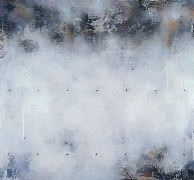 "Raphaelle Goethals, Alfa Blue, encaustic on panel, 38 x 40"""