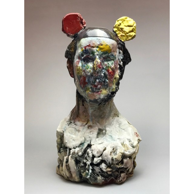 "Wanxin Zhang, Selfie, fired clay with glaze, 22 x 12 x 10"""