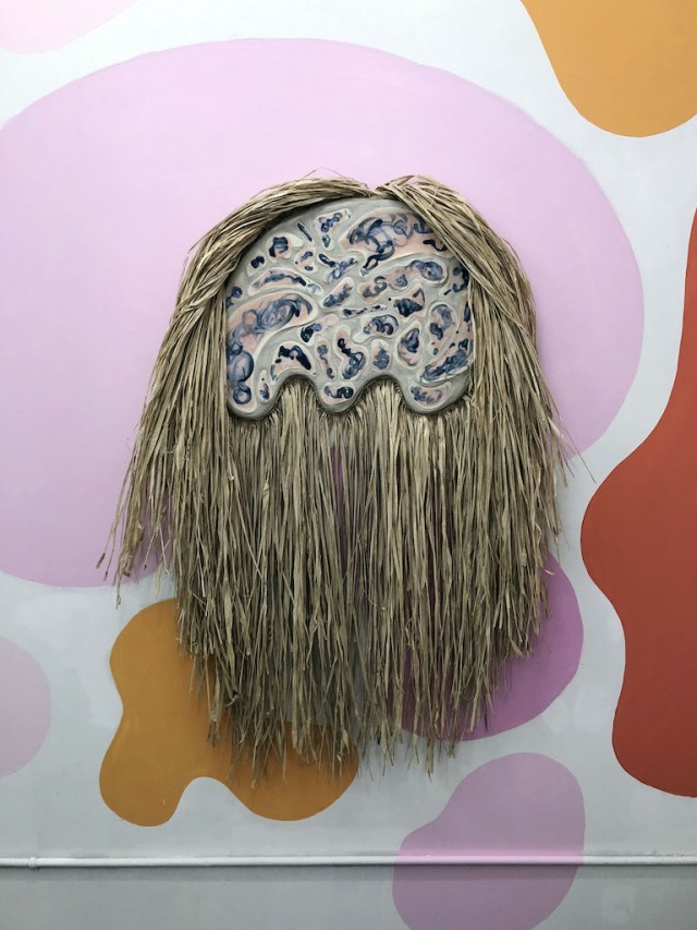 ".Liz Robb, Desert Wildman II, 2018, raffia, porcelain and sand on wood panel, 52"" x 34"" x 4"""