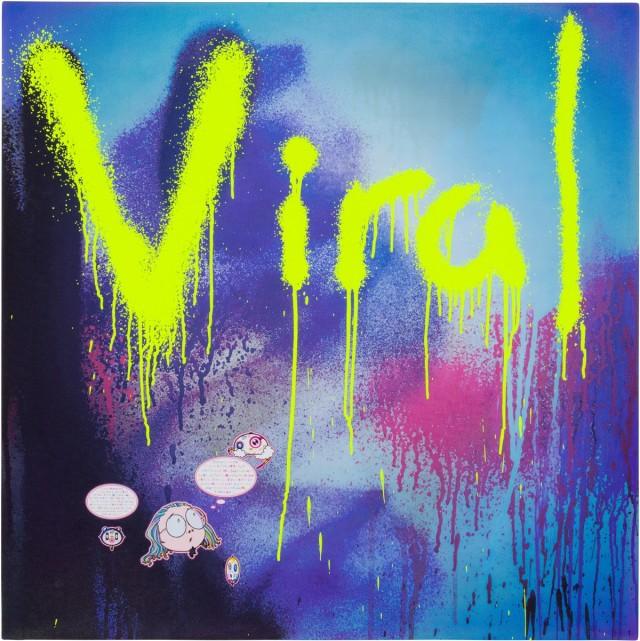 Takashi Murakami, Viral, 2018, acrylic on canvas mounted on aluminum frame, 30 × 30 inches (76.2 × 76.2 cm) © 2018 Takashi Murakami/Kaikai Kiki Co., Ltd. All rights reserved